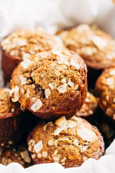 Super Moist and Healthy Carrot Cake Muffins - Made with less sugar than traditional muffins and packed with greek yogurt and apple sauce so there isn't a dry crumb in sight! Healthy Carrot Muffins, Greek Yogurt Muffins, Carrot Cake Cupcakes, Muffin Recipes, Carrot Recipes, Baking Recipes, Cake Recipes, Healthy Desserts, Healthy Baking