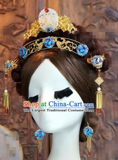610c0ac0b Chinese Ancient Bride Hair Accessories Wedding Blueing Hair Crown Hairpins  Complete Set for Women