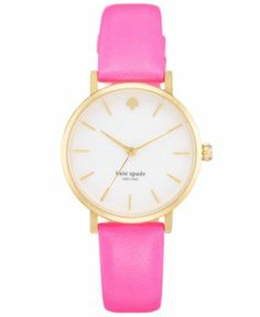 kate spade new york Watch, Metro Bazooka Pink Leather Strap