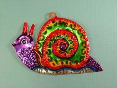 Mexican Tin Ornament Snail   eBay