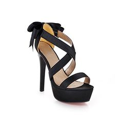 Cuckoo Womens Open Toe Stiletto High Heel Back Bowknot Red Bottom Platform Sandal ShoesBlack 95BMUS ** Check out this great product.