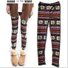 Buy Fashion Thin Colorful Crystal Pattern snowflakes Women's Knit Leggings Tights Pants + Free Shipping on Aliexpress.com