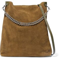 Little Liffner Liquor leather-trimmed suede shoulder bag (22.965 RUB) ❤ liked on Polyvore featuring bags, handbags, shoulder bags, army green, shoulder hand bags, brown suede purse, olive handbag, structured purse and suede purse