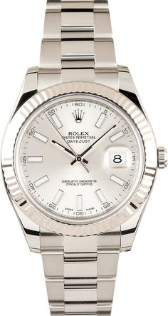 Manufacturer: Rolex Model Name/Number: Datejust II 116334 Serial/Year: Random 2011 or newer Grade: (What's This?) II Gender: Men's Features: Automatic 3136 movement w/ date, Quickset, scratch-resistant sapphire crystal, waterproof screw-down crown Case: Stainless steel w/ 18k white gold fluted bezel (41mm), inner reflector ring engraved w/ serial number Dial: Silver w/ luminous hour markers Bracelet: Stainless Steel Oyster w/ Oysterlock clasp Box