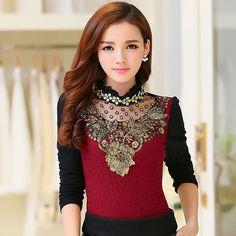 137fb828232 Women Fashion Lace Print Diamond Blouse. Women Clothes 2017 Vetement Femme  Shirt ...