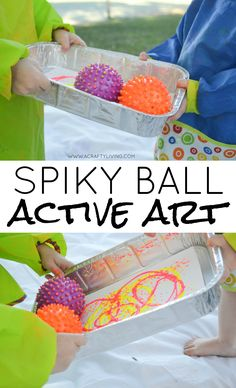 Spiky Ball ACTIVE ART! Join us for 26 Days of (Alphabet) Active Art -Supporting Physical Development & Creativity in Toddlers & Preschoolers for every letter of the alphabet! www.acraftyliving.com