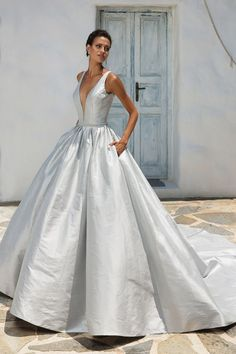Justin Alexander Silk Dupion Ball Gown with Plunging V-Neckline and Keyhole Back