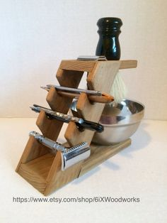 Poplar 4 Razor Display/Shaving Stand by 6ixWoodworks on Etsy
