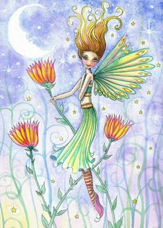 Flower Fairy Card by Molly Harrison Green Fairy Absinthe, Fairy Paintings, Fairy Drawings, Elves And Fairies, Butterfly Fairy, Alcohol Ink Art, Flower Fairies, Fairy Art, Fairy Dolls