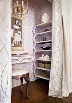 Closet turned glam workspace.   Check out the leading edge...   {sk note:} Would be totally amazing in a French knot!