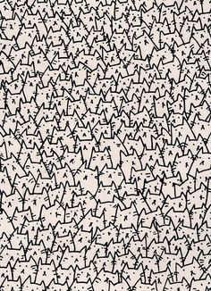Cats, cats everywhere. Funny cat pattern.