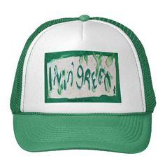 living green trucker hat