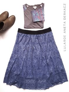 LuLaRoe lacy Lola skirt paired with a Randy T! #flatlay #outfit