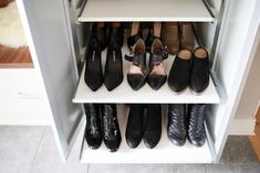 Extra deep shelving that pulls out is a great way to get as much shoe storage as possible without sacrificing accessibility. Shoe Shelves, Shoe Storage, Cubbies, Storage Ideas, California Closets, Entryway Storage, Open Shelving, Mudroom, Living Area