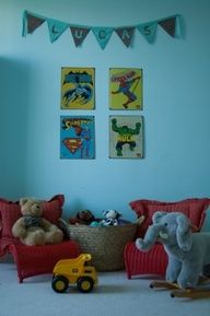 Superhero Kids Room Design Ideas, Pictures, Remodel, and Decor Boys Room Design, Nursery Design, Playroom Design, Playroom Ideas, Estilo Kitsch, Superhero Room, Superhero Spiderman, Baby Superhero, Superhero Design