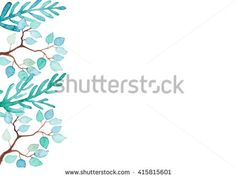 Card With Watercolor Blue And Green Leaves