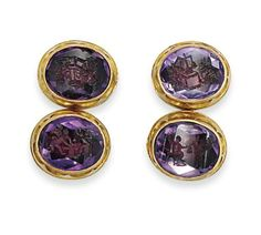 A PAIR OF 19TH CENTURY GOLD AND AMETHYST INTAGLIO CUFFLINKS, BY JOHN BROGDEN Each composed of two oval-cut amethyst intaglios engraved with winged putti, to foiled closed-back settings and scalloped collet borders, with scroll connecting link between, circa 1870 Signed JB for John Brogden Purple Quartz, Fine Jewelry, Jewellery, Quartz Crystal, 19th Century, Amethyst, Men's Cufflinks, Brooch, Pairs