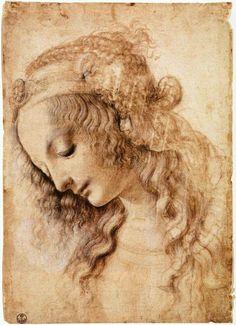 Leonardo da Vinci, 1452-1519, Italian, Woman's Head, 1470-1476. Pen, ink and white pigment on paper, 28.2 x 19.9 cm. Galleria degli Uffizi, Florence. High Renaissance.