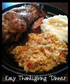 Crock Pot Turkey, Cornbread Dressing, and Creamy Mashed Potatoes!