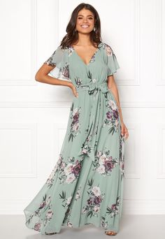 Goddiva Floral Sleeve Maxi Dress Duck Egg - Bubbleroom W Dresses, Flower Dresses, Pink Fur Jacket, Fall Outfits, Casual Outfits, Boating Outfit, Floral Sleeve, Chiffon Gown, Maxi Dress With Sleeves
