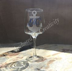 Anchor Wine Glass, Personalized Wine Glass, Monogram Wine Glass, Wine Goblet, Gift for Her, Etched Glass, Etched Wine Glass, Navy Wine Glass by AnchorInCreativity on Etsy