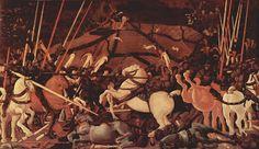 """Paolo Uccello """"La Batalla de San Remo"""". Este fue el primer pintor de batallas y perspectivas en cuyos problemas centra todo su interés."""