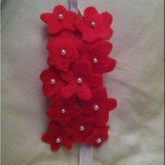 grouping small flowers together   Felt baby headband