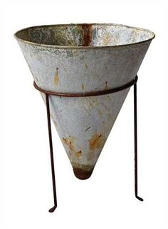 "10-1/2"" Round x 13-1/2""H Tin Cone Shaped Flower Pot w/ Metal Stand, Distressed Zinc Finish, Set of 2"