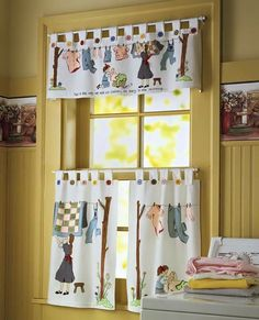 Nostalgic Laundry Room Cafe Curtain Set Collections Etc… Vintage Curtains, Boho Curtains, Rustic Curtains, Cafe Curtains, Colorful Curtains, White Curtains, Roman Curtains, Layered Curtains, Purple Curtains