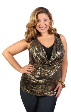 plus size cheetah foil tank with drape front and rouched inset