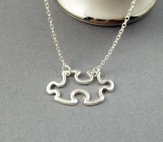 Silver Puzzle Piece Necklace STERLING SILVER CHAIN, $20