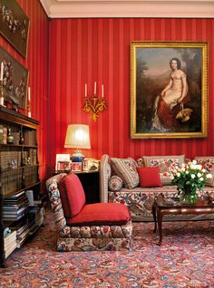Trendy Home Library Table Wall Colors English Country Decor, Artwork For Home, Red Rooms, Traditional Interior, Red Interiors, French Interiors, Trendy Home, Living Room Carpet, Carpet Design