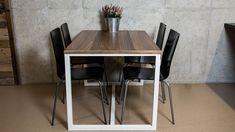 Kombinace dřevěné ořechové dýhy, dřevotřískové desky a masivní ořechové hrany. Jednoduchá, ale přesto bytelná železná konstrukce. Tento stůl jsme se rozhodli zařadit do naší nabídky s ohledem na životní prostředí a s myšlenkou toho, že i tato kombinace bude sloužit dlouhá léta. Dining Table, Furniture, Home Decor, Decoration Home, Room Decor, Dinner Table, Home Furnishings, Dining Room Table, Home Interior Design