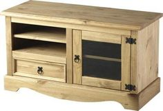 Pine Tv Cabinet Unit Entertainment Stand 2 Door Flat Screen Mexican Corona