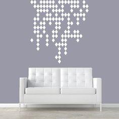 REXTON HOOD WALL? Wall Decal Vinyl Sticker Decals Art Decor Design Raining Diamonds Damask Pattern Geometric Moroccan Ornament Style Dorm Bedroom (r346)