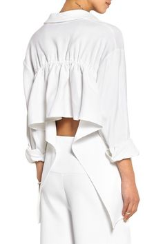 White stretch-twill Button fastenings along front 55% rayon, 43% linen, 2% elastane Dry clean