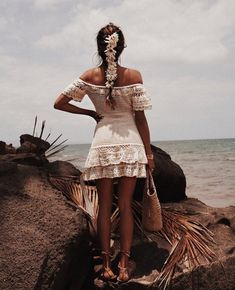 Crochet Off Shoulder Ruffles Lace Mini Dress, Wedding Bride Bridesmaid Dress, Festival Clothing . Monokini, Bordado Floral, Mini Vestidos, Bridesmaid Dresses, Wedding Dresses, Boho Hippie, Festival Outfits, Ladies Dress Design, Crochet Clothes