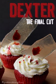 the perfect party cupcake fo the series finale of dexter on saturday - vegan red velvet cupcakes with Dexter's famous blood slides