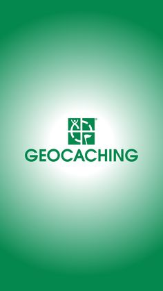 Wallpaper of the geocaching logo, white radial behind the green logo. geocaching.com