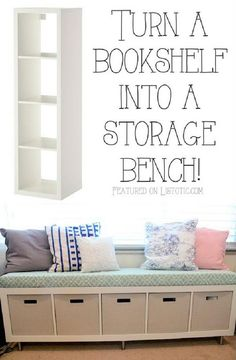 IKEA Kallax Bookshelf into Storage Bench - 60+ IKEA Kallax Shelf Hacks or DIY Expedit Shelf - DIY & Crafts
