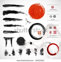 Set of brushes and other design elements, hand-drawn with ink in traditional Japanese style sumi-e. Red circle - symbol of Japan, enso zen circles, hieroglyphs, decorative stamps. Vector illustration - buy this vector on Shutterstock & find other images.