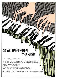 Italian artist and graphic novel pioneer, Dino Buzzati (1906-1972). Illustration from his Poema a fumetti (1969).