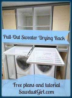 I shared an update of my pullout sweater drying rack on facebook this week and WOWZA, people get excited about storage saving drying racks! LOL It's really an easy project. You just have t…