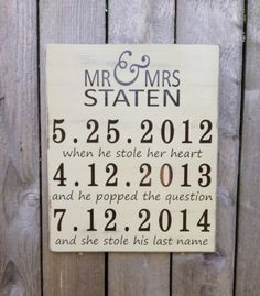 This Rustic style sign makes the perfect handmade gift for the couple this wedding season.    This Mr. and Mrs. sign measures 12 wide by 16