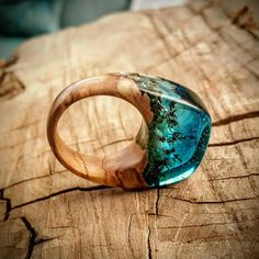 Size 6 3/4  Wood Resin Ring  Blue with flowers