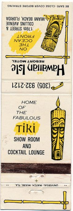 Vintage 1960's TIKI BAR MATCHBOOK for HAWAIIAN ISLE, Miami Beach, FL