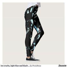 Ice cracks, light blue and black grunge pattern leggings