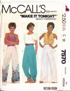 Vintage McCalls 7570 Womens Make it Tonight by sandritocat Pallazo Pants, Harem Pants, Festival Outfits, Festival Clothing, Sewing Alterations, Vintage Sewing Patterns, Sewing Clothes, Wide Leg Pants, Printing On Fabric