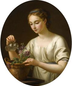 Joseph-Marie Vien - A Young Woman Watering a Pot of Flowers (1762)