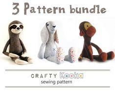 Sewing pattern pdf bundle of 3 stuffed animals patterns, sloth pattern, monkey…